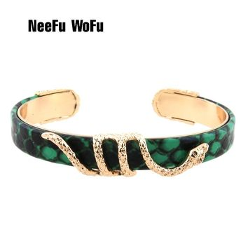 NeeFuWoFu Bracelets snake Leather Copper Tiger printing Bangles Woman Open Gradient Manual for National Charm Jewelry Gift