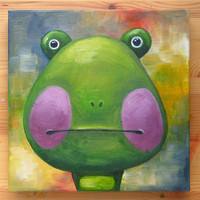 Frog Portrait, Original Art, Animals, Oil on canvas, MikiMayo