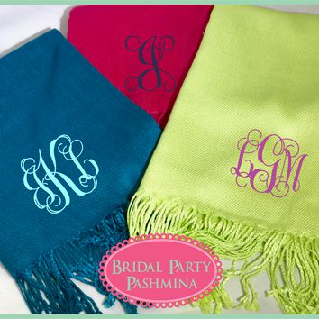 Monogrammed Wedding Pashmina Shawl