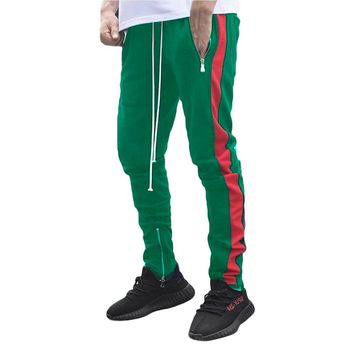 Green & Red Striped Sweatpants Joggers For Men