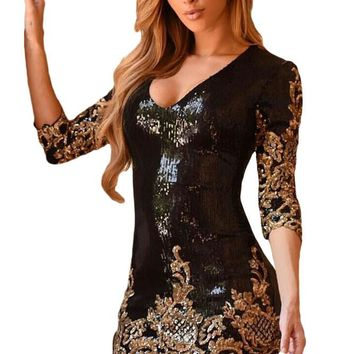 Chicloth Black Victorian Gold Sequins 3/4 Sleeves Bodycon Dress