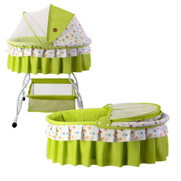 Metal Baby Crib Rocking Bed Baby Cradle travel cot Stroller With Fabric Mosquito Net Infant crib tent cushion mattress wheels