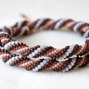 Beaded crochet necklace, rope, brown, pink, cream, spiral, copper, gift idea, one of a kind, seed bead jewelry