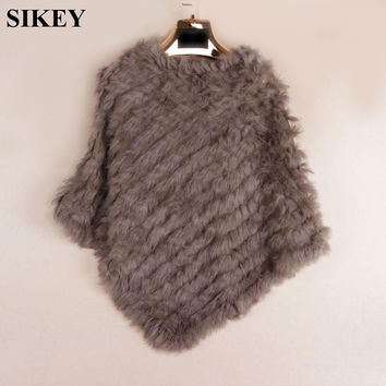 SRA004 Knit knited rabbit fur Shawl poncho stole shrug cape robe tippet amice wrap