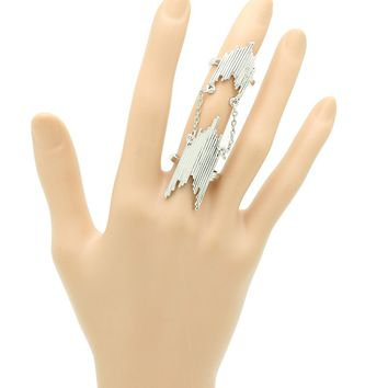 (Silver) Armour Knuckle Connected Chain Full Finger Ring