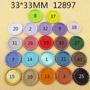 25Y12897 free shipping 33*33mm flattened bottle caps diy hairbow hair bows necklace accessories mini order$ 6.00