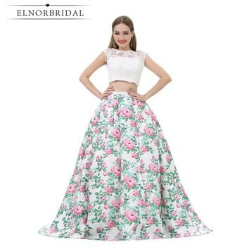 Fashion Two Piece Prom Dresses 2017 Robe De Bal 3D Printed Flower Cap Sleeve Imported Party Dress Long Formal Evening Gowns