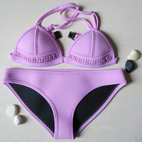 Women Sexy Swimsuit Noeprene Bikini Set Neoprene Swimwear Beach Wear Biquini Padded Bath Suit Push UP Purple
