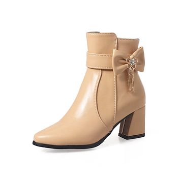Bow Metal Chunky High Heel Women Ankle Boots