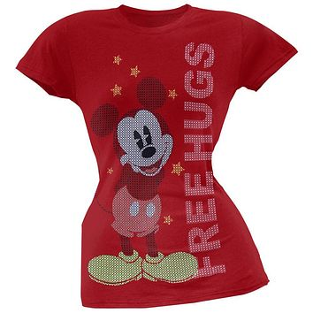 Mickey Mouse - Free Hugs Red Juniors T-Shirt