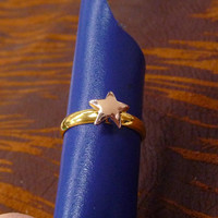 A tiny gold plated wishes star mult-task ring, above knuckle ring,adjustable finger ring,stackable ring, toe ring, little finger ring