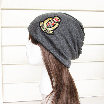 Fashion Beanie Hat-Dark Grey-Baggy Hat- Head Wrap- Slouch Cap-Hippie Hat