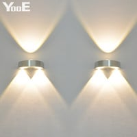 Indoor 3W LED Wall Lamp AC110V/220V bedroom Decorate sconce Cold White / Warm White / Yellow Light Free shipping