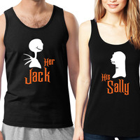 Personalized Couples Nightmare Before Christmas Tanks / Customized Couples Disney Shirts / Her Jack His Sally / Pumkin King