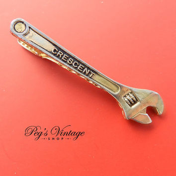 Vintage Tie Clip- Crescent Wrench Tie Bar Hardware, Tools, Carpenter, Ratchet, Mechanic Gift Idea