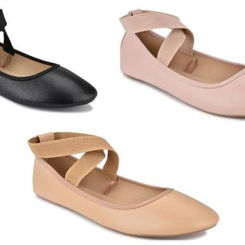 Women's Mary Jane Criss Cross Ankle Strap Ballet Flats