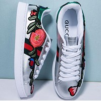 Gucci Old Skool Women Fashion Embroidery Flower Sneakers Sport Shoes