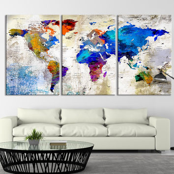 53868-Large Wall Art Push Pin World Map Canvas Print, World Map, Wall Art Canvas, Push Pin Map, Navy Blue Wall Art, Large Wall Art World Map Print