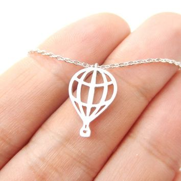 Miniature Hot Air Balloon Shaped Cut Out Charm Necklace in Silver | DOTOLY