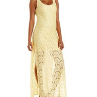 Side Slit Lace Maxi Dress by Charlotte Russe
