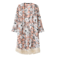 Floral Kimono Top with Fringed Bottom