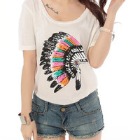 White Indian Headdress Printed T-Shirt