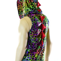 Mens Sleeveless Poisonous Reptile Print Holographic Red Spiked Dragon Hoodie Rave Festival Clubwear EDM Party Animal -151078