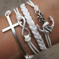Bracelet - antique silver bracelet cross bracelet anchor bracelet, White wax cord and leather braided bracelet