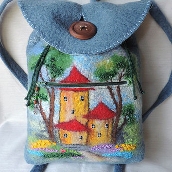 Wool backpack with button, Felted backpack, Backpack with houses