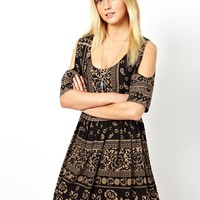 ASOS Smock Dress With Cold Shoulder In Paisley