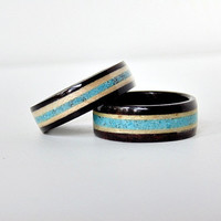 Ebony wood wedding bands Maple and Turquoise inlay Handmade bentwood rings