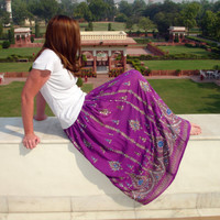Purple Maxi Skirt: Indian Skirt, Gypsy Skirt, Boho Bohemian Sequin Floral Crinkle Flowy Sequined Crinkle Peasant Skirt