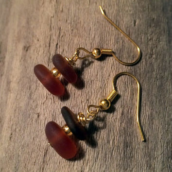 Budweiser Brown Sea Glass Dangle Earrings Upcycled Jewelry Eco Friendly  Nautical Wear Beach Glass Lake Erie Ohio