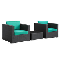 Burrow 3 Piece Outdoor Patio Sectional Set in Espresso Turquoise