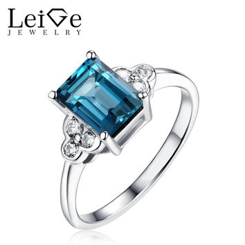 LEIGE JEWELRY STERLING SILVER LONDON BLUE TOPAZ RING NATURAL GEMSTONE WEDDING PROMISE RINGS FOR WOMEN EMERALD CUT FINE JEWELRY