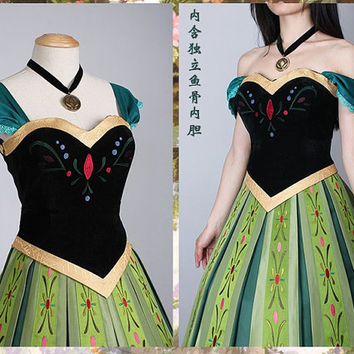J712 Movies Frozen Snow Queen ANNA Cosplay Costume Deluxe Dress coronation kids adult and teenager