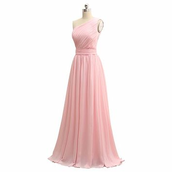 2016 HOT SALE Cheap Bridemaid Dresses Under 50 One Shoulder Long Chiffon A Line Pleated Wedding Party Dresses