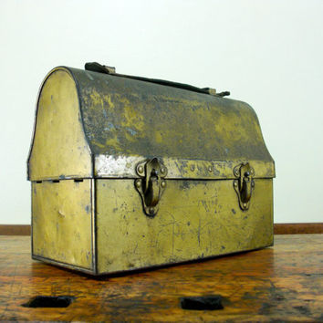 Vintage Metal Lunch Pail, Vintage Lunch Box, Gold, Antique, Industrial