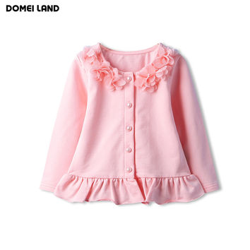 2016 fashion autumn children clothing for cute kids girls pink lace cotton long sleeve ruffle knitting cardigan sweaters clothes