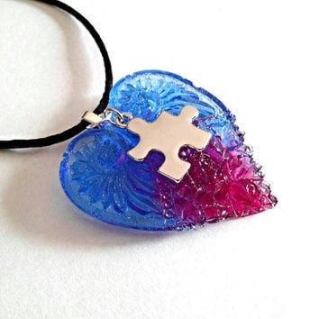 Autism necklace, autism awareness jewelry, puzzle piece necklace, handmade resin blue and red heart pendant. Autism gifts for autism mom.