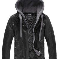 Men's Leather Jacket with Removable Hood