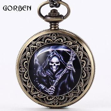 Steampunk Retro Bronze Final Destination Theme Pocket  Watch With Necklace Quartz Mens Skull Watch Gifts Relogio De Bolso