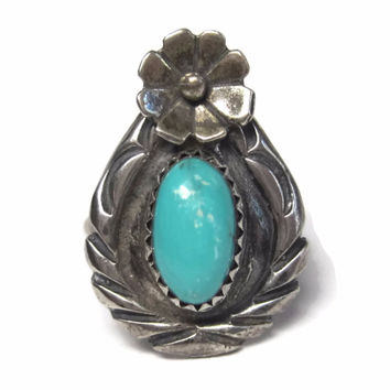 Vintage Navajo Turquoise Flower Ring Sterling Size 6