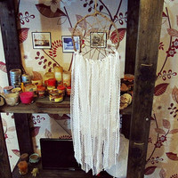 Bohemian Dreamcatcher - Melancholia - White Dream Catcher - Hippie Boho Home Decor - Dreacatcher Mobile - Gypsy Bedroom Decor