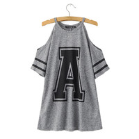 Women letter A print T shirt sexy off shoulder grey tees camisas femininas O-neck loose tops fashion casual shirts DT391
