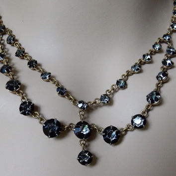 Rhinestone Jewelry Rhinestone Necklace Victorian Mourning Necklace