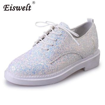 EISWELT Glitter Girls Oxfords Round Toe Lace-Up Leisure Woman Shoes Casual Solid Flats Women Shoes Low Heels Ladies Shoes#ZQS032