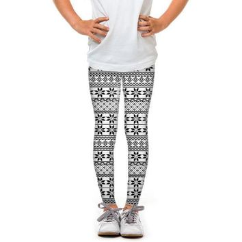 Leggings - Youth Black and White Snowflakes