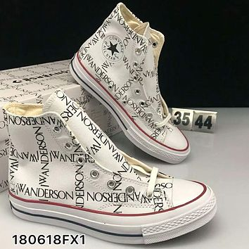 Converse X JW Andersom black and white letters high-top lovers shoes F-CSXY  White