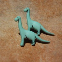Brontosaurus Seafoam Green Dino Studs - Surgical Steel Gift Packaged | VeryVintage - Jewelry on ArtFire